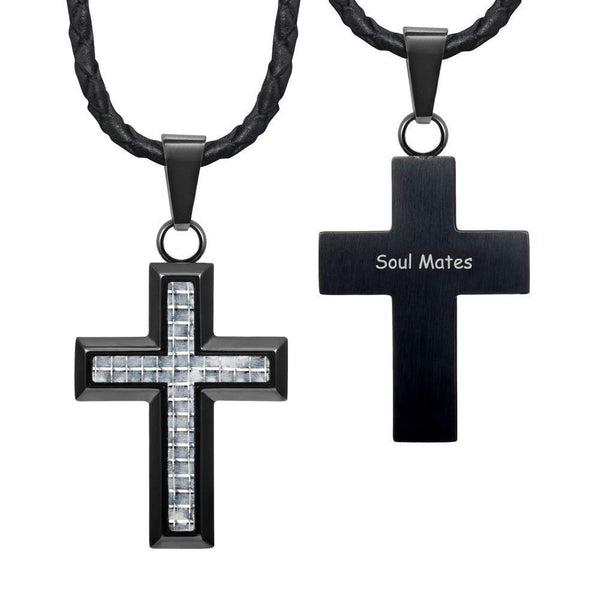 "Willis Judd New Mens Cross Pendant Engraved Soul Mates Carbon Fibre 22"" Leather Necklace"