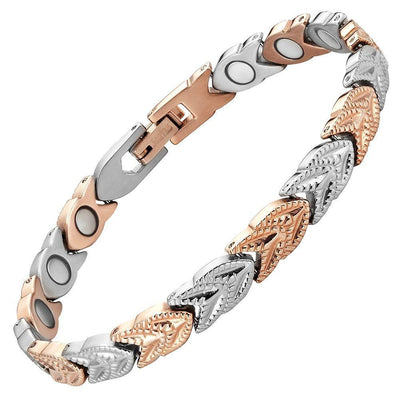 New Ladies Two Tone Titanium Magnetic Bracelet with Free Adjuster and Gift Box