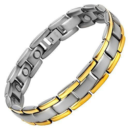 New Mens Titanium Magnetic Bracelet Free Adjuster Gift Box