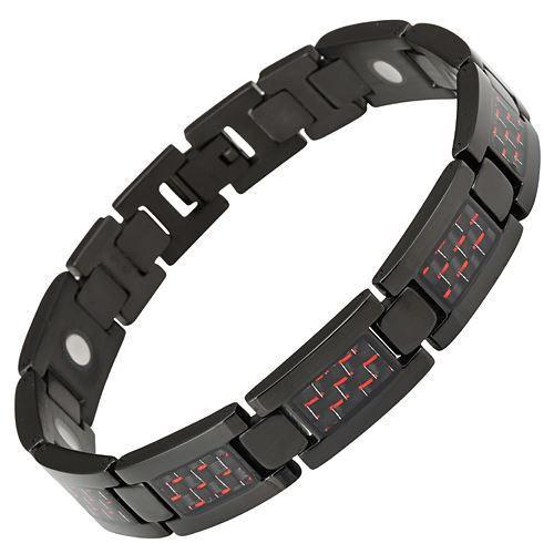 New Mens Titanium Magnetic Bracelet Red Carbon Fibre Free Adjuster Gift Box - TB47