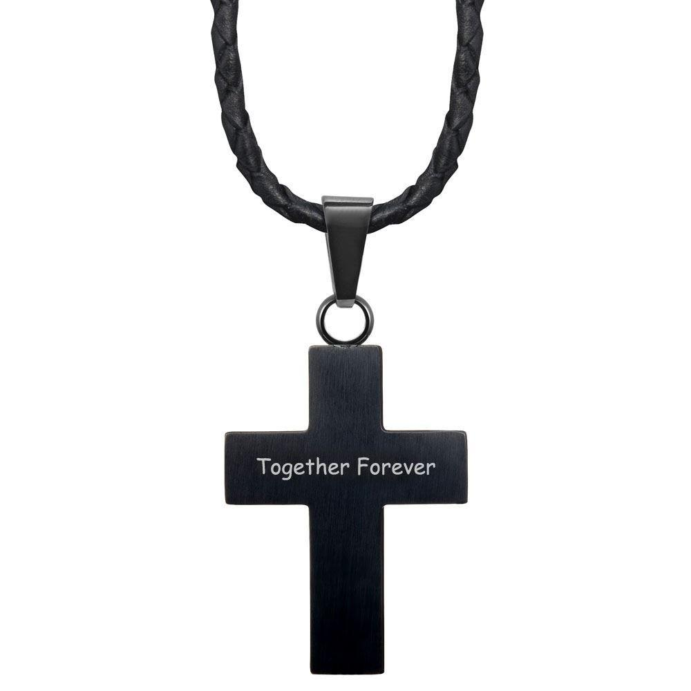 Willis Judd New Mens Cross Pendant Engraved Together Forever Carbon Fibre Leather Necklace