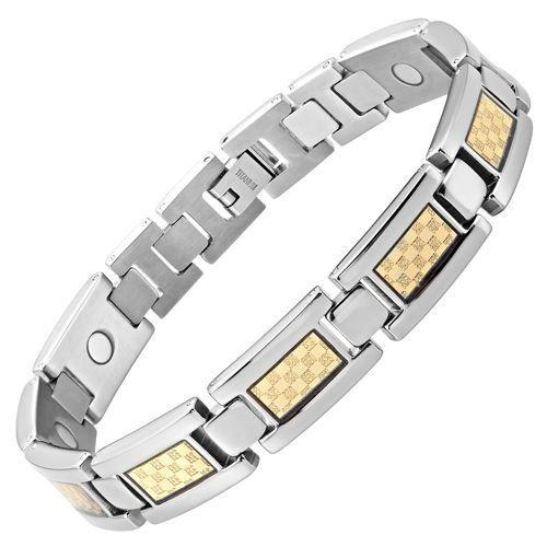 New Mens Titanium Magnetic Bracelet Gold Carbon Fibre Free Adjuster Gift Box