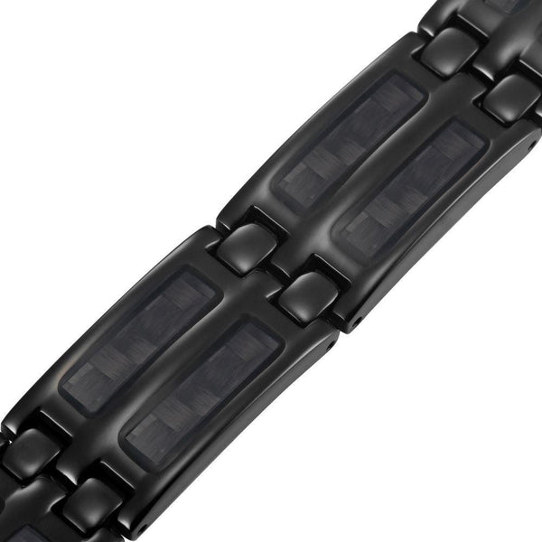 New Mens Titanium 4 Element Magnetic Bracelet Carbon Fibre + Adjuster Gift Box - TB139FE