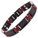 Willis Judd Mens Four Element Magnetic Red Carbon fibre Black Titanium Bracelet + Link Removal Tool