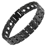 New Mens Black Titanium Magnetic Bracelet with Free Adjuster and Gift Box