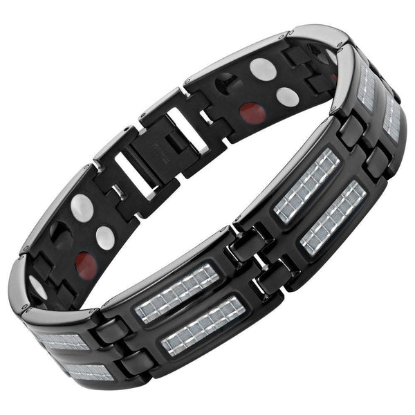New Mens Titanium 4 Element Magnetic Bracelet Carbon Fibre + Adjuster Gift Box