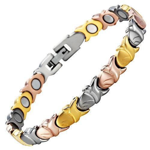 New Ladies Tri Colour Magnetic Titanium Bracelet + Free Adjuster Gift Box