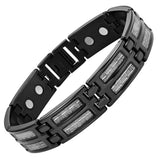 New Mens Titanium Magnetic Silver Carbon Fiber Bracelet + Free Adjuster Gift Box