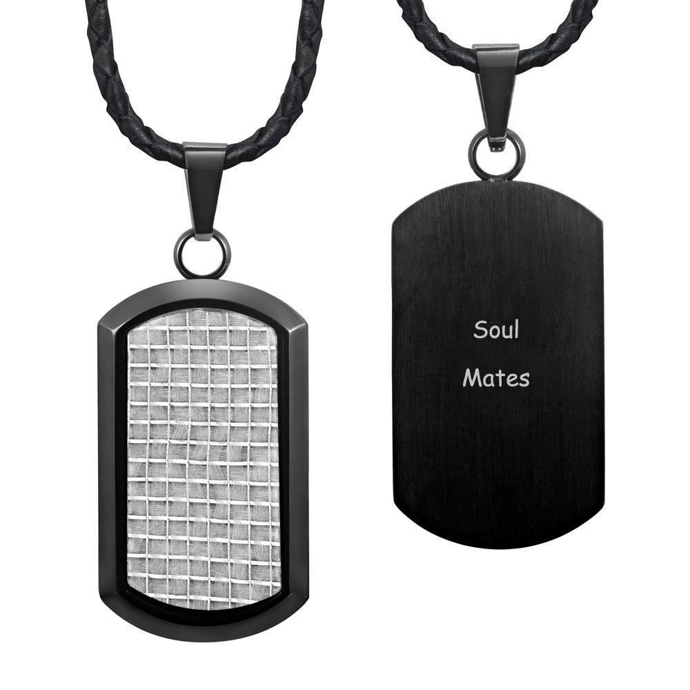 Willis Judd New Mens Black Stainless Steel Dog Tag Pendant Engraved Soul Mate... - MP162