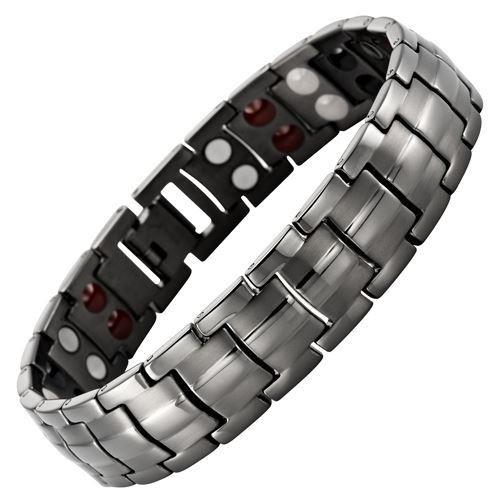 New Mens Titanium 4 Element Gunmetal Magnetic Bracelet Free Adjuster Gift Box