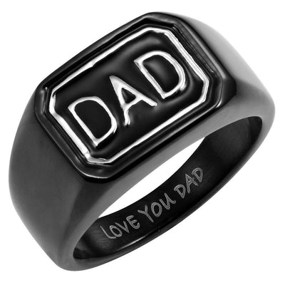 DAD Black Stainless Steel Ring Engraved Love You Dad