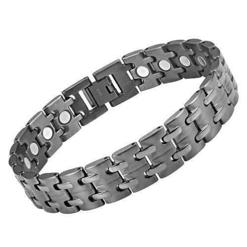 New Mens Titanium Gunmetal Magnetic Bracelet with Free Adjuster Gift Box