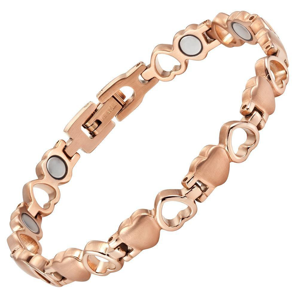 New Ladies Love Heart Titanium Magnetic Bracelet with Free Adjuster and Gift Box
