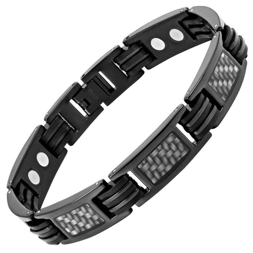 Willis Judd New Mens Graphite Carbon fibre Black Titanium Magnetic Bracelet + Free Link Removal Tool - TB164