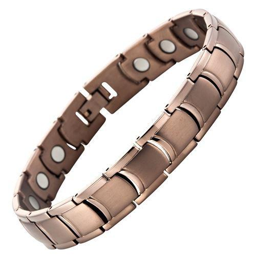 New Mens Bronze Titanium Magnetic Bracelet with Free Adjuster and Gift Box