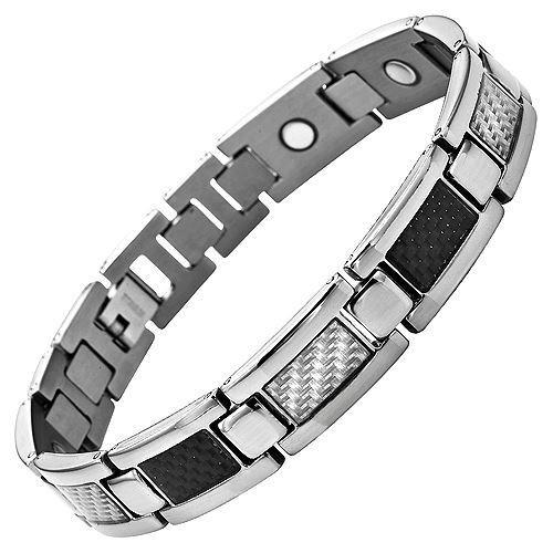 New Mens Titanium Magnetic Bracelet Feat. Carbon Fibre Free Adjuster Gift Box