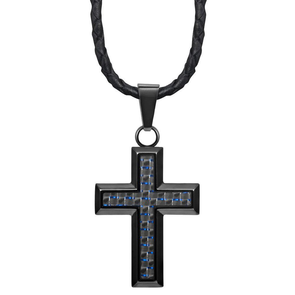 "Willis Judd New Mens Cross Pendant Engraved I Love You Carbon Fibre 22"" Leather Necklace - MP190"
