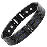 New Mens Titanium Magnetic Blue Carbon fibre Bracelet + Free Adjuster Gift Box