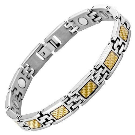 New Ladies Two Tone 4 Element Titanium Magnetic Bracelet Free Adjuster Gift Box