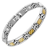 New Ladies Titanium Magnetic Bracelet Gold Carbon Fibre + Free Adjuster Gift Box