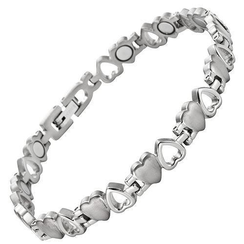 New Ladies Love Heart Titanium Magnetic Bracelet + Free Adjuster Gift Box