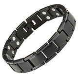 New Mens Black Double Row Titanium Magnetic Bracelet + Free Adjuster Gift Box