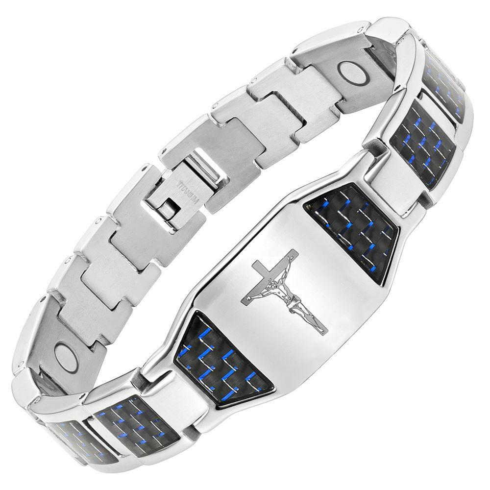 Willis Judd Mens Christian Jesus Crucifix Cross Blue Carbon fibre Titanium Magnetic Bracelet with Free Link Removal Tool and Gift Box