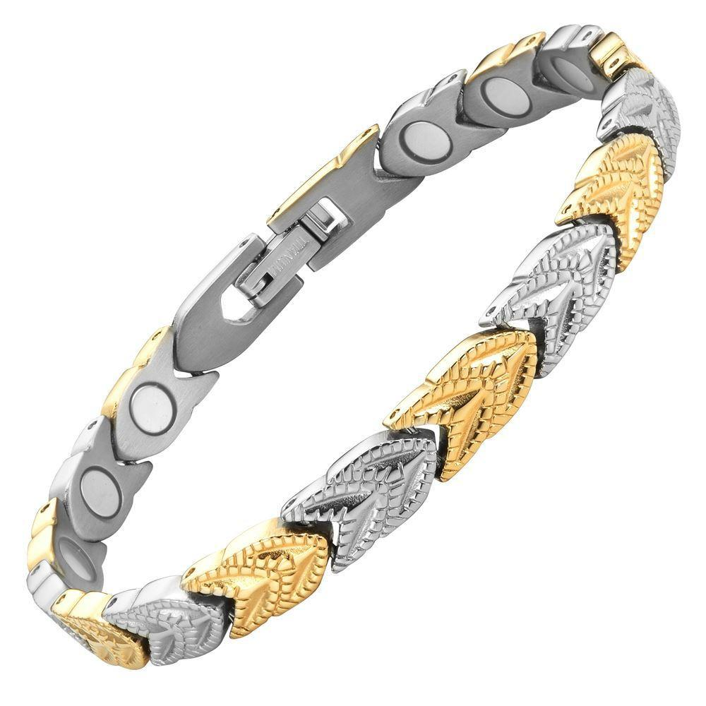 New Ladies Two Tone Titanium Magnetic Bracelet + Free Adjuster Gift Box