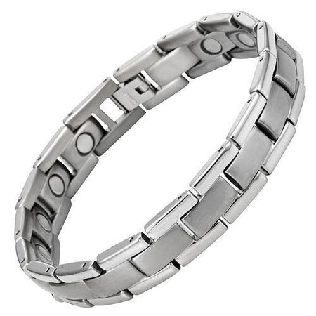 New Mens Two Tone Titanium Magnetic Bracelet Free Adjuster and Gift Box