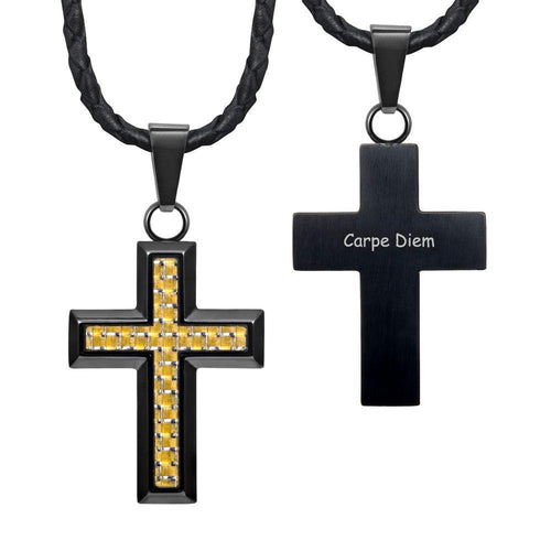 "Willis Judd New Mens Cross Pendant Engraved Carpe Diem Carbon Fibre 22"" Leather Necklace - MP235"