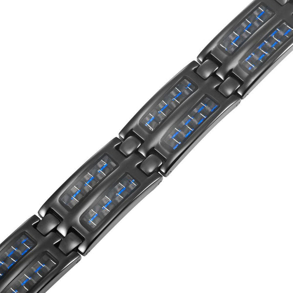 New Mens Titanium Magnetic Bracelet Silver Carbon Fibre Free Adjuster Gift Box