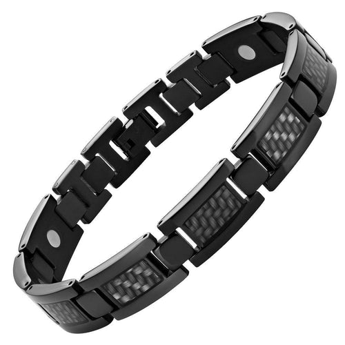 Willis Judd New Mens Graphite Carbon fibre Black Titanium Magnetic Bracelet + Free Link Removal Tool