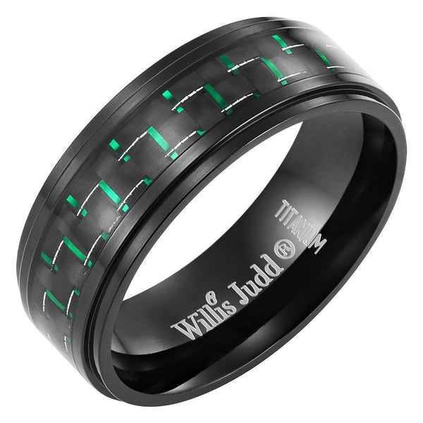 Willis Judd Men's Black Titanium Ring with Green CZ and Carbon fibre Ring Engraved I Love You with Velvet Gift Box €_