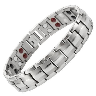 New Mens 4 Element Titanium Magnetic Bracelet + Free Adjuster Gift Box