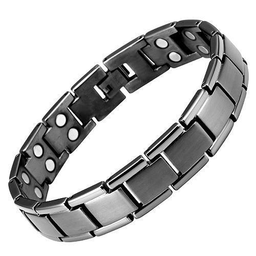 New Mens Gunmetal Double Row Titanium Magnetic Bracelet + Free Adjuster Gift Box