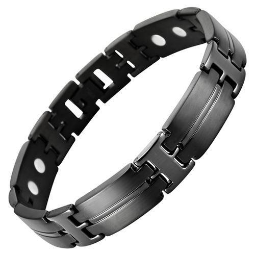 New Mens All Black Titanium Magnetic Bracelet + Free Adjuster and Gift Box