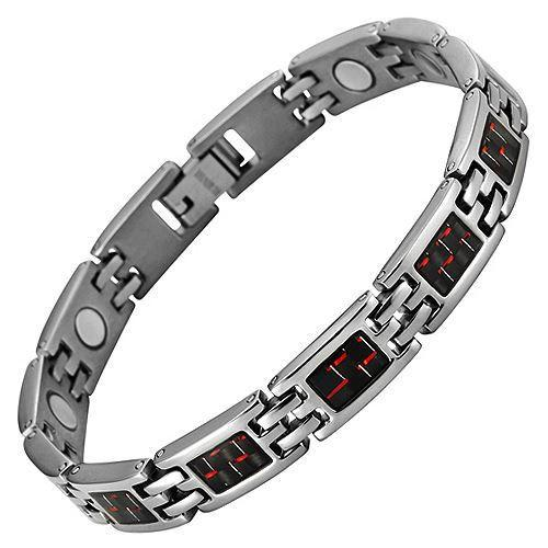 New Ladies Magnetic Titanium Bracelet Red Carbon Fibre Free Adjuster Gift Box