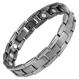 New Mens Gunmetal Titanium Magnetic Bracelet + Free Adjuster Gift Box - TB97