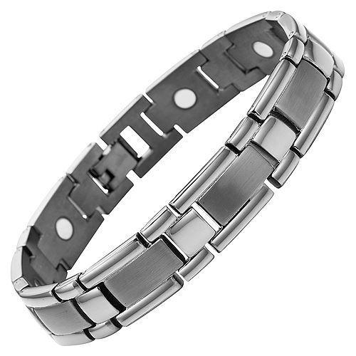 New Mens Gunmetal Titanium Magnetic Bracelet + Free Adjuster Gift Box
