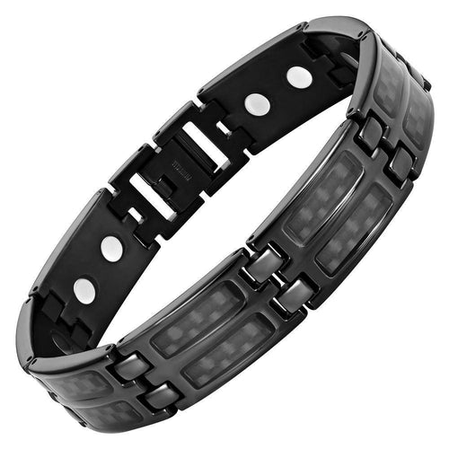 New Mens Titanium Double Magnetic Carbon fibre Bracelet Free Adjuster Gift Box