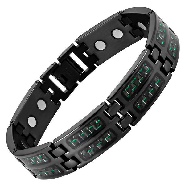 New Mens Titanium Magnetic Green Carbon fibre Bracelet + Free Adjuster Gift Box