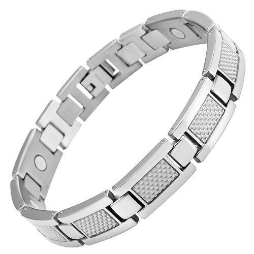 New Mens Titanium Magnetic Bracelet Silver Carbon Fibre + Free Adjuster Gift Box