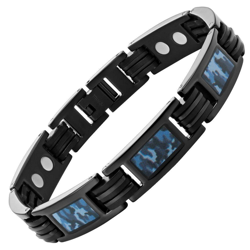 Willis Judd Mens Black Titanium Magnetic Bracelet with Blue Camouflage Free Link Removal Tool & Gift box
