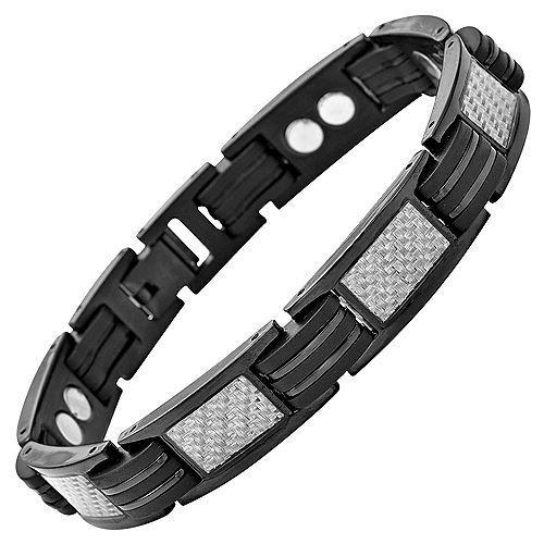 New Mens Titanium Magnetic Bracelet Silver Carbon Fibre Free Adjuster Gift Box - TB39
