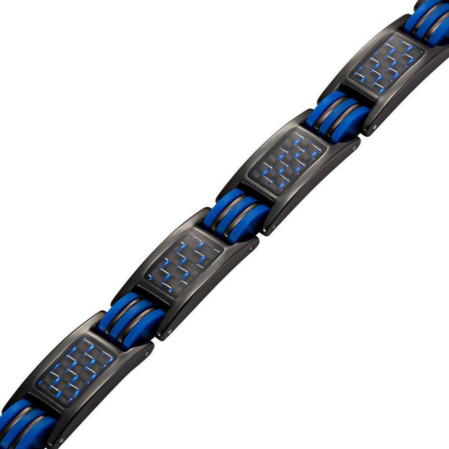 Willis Judd New Mens Four Element Magnetic Blue Carbon fibre Black Titanium Bracelet + Link Removal Tool