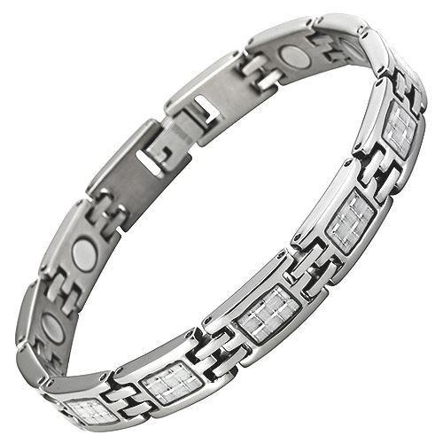 New Ladies Magnetic Titanium Bracelet Silver Carbon Fibre Free Adjuster Gift Box