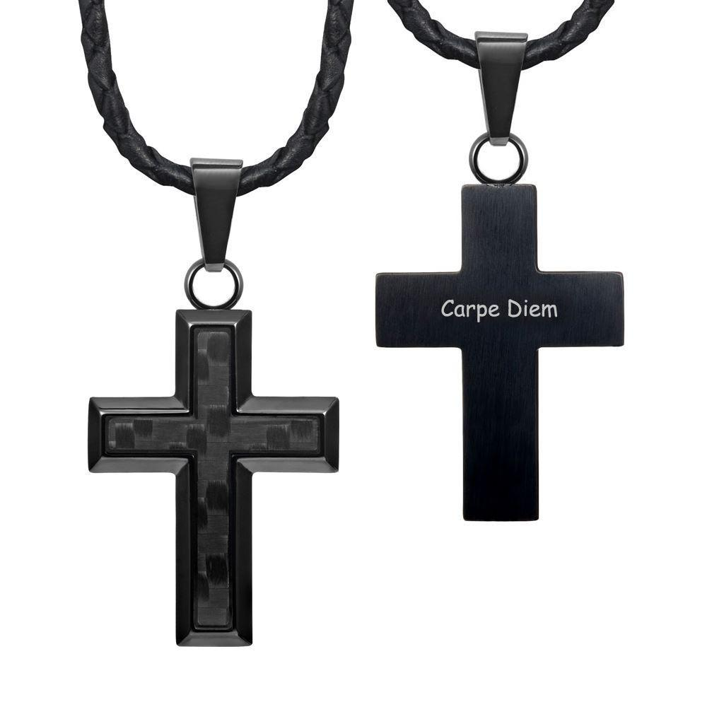 "Willis Judd New Mens Cross Pendant Engraved Carpe Diem Carbon Fibre 22"" Leather Necklace"
