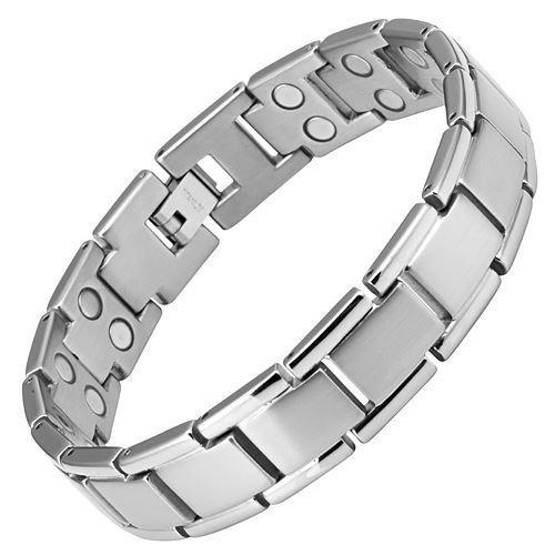 New Mens Titanium Double Row Magnetic Bracelet + Free Adjuster and Gift Box