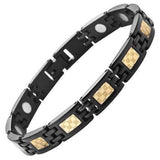 New Ladies Titanium Gold Carbon Fibre Magnetic Bracelet Free Adjuster Gift Box
