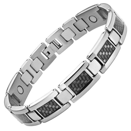 Mens Titanium Double Magnetic Carbon fibre Bracelet